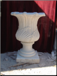 Fluted Marble Urn W/ Leaf Embossed Design
