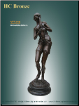 Decorative Bronze Statue of Girl Playing a Trumpet on marble base.