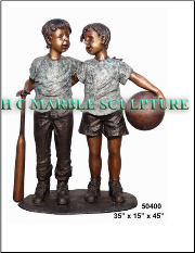 Brothers Two Friends Bronze Statue