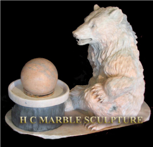 Little Bear Marble Fountain