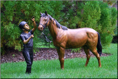 Bronze Statue Girl Kissing Horse