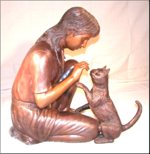 Bronze Sitting Girl With Cat
