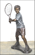 Boy Playing Tennis, Bronze Statue