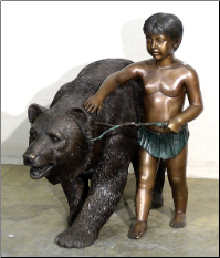 Boy With Bear Bronze Statue