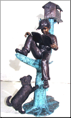 Boy w/ Cap & dog sitting on tree stump Mailbox Bronze sculpture
