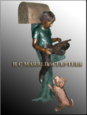 Boy sitting on tree trunk w/dog bronze mailbox custom colors