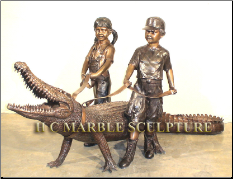 Children with Crocodile Fountain