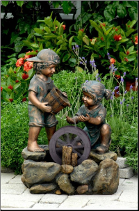 2 Child Bronze Self Contained Fountain on rock base