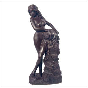 Bronze Fountain of Nude Maiden with Jug