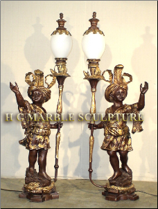 Bronze Blackamoor w/ French Lamp