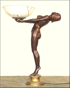 Bronze Art Deco Nude Figure Lamp w/ Poly Shade