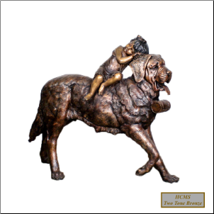 Child Sitting on St. Bernard Dog, Bronze