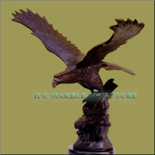 Bronze Eagle on marble Base Table Top Sculpture