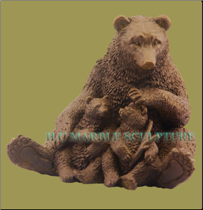 Bronze Bear Family Table Top Sculpture