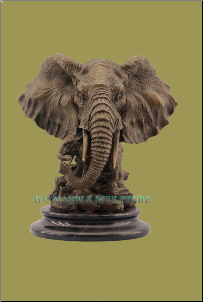 Bronze Elephant Head on Marble Base Small Sculpture