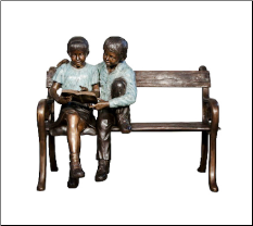 Bronze Statue of Boy and Girl Sitting on Bench reading