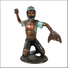 Baseball Catcher Sitting Bronze Sculpture