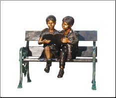 Boy and Girl Sitting on Bench