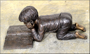 Bronze Sculpture Boy Reading Book