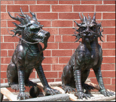 Bronze Sitting Foo Dragon Lion