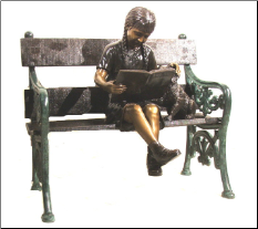 Bronze Girl Reading sitting on Bench