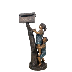 Bronze Boy and Girl on Log Mail Box