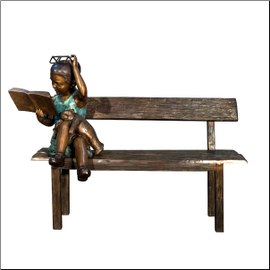 Girl Reading on Bench Cast Bronze Statue