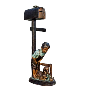 Bronze Boy and Dog Mailbox