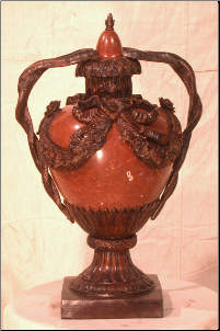 Red Marble Urn w/ snake handles
