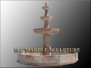 3 Tier Marble Rosa Fountain w/ Copping
