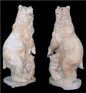 Marble Statue Standing Bear w/Cub R or L