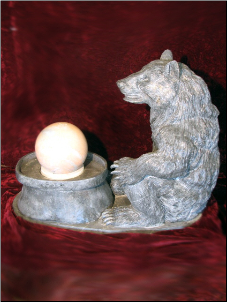 Bear w Ball Marble Fountain/ Blk