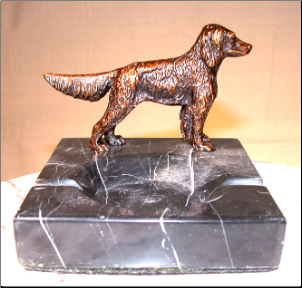 Bronze Retriever Dog Figurine Standing on Marble Ashtray