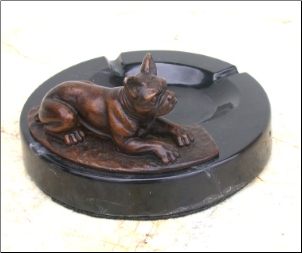 Bronze Bulldog Figurine Lying on Marble Ashtray