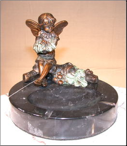 Bronze Fairy Figurine Sitting on Marble Ashtray