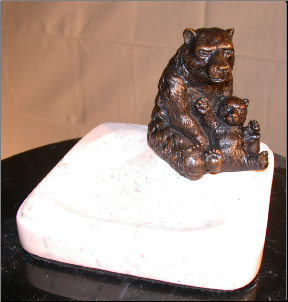 Bronze Papa Bear Figurine Sitting on Marble Ashtray