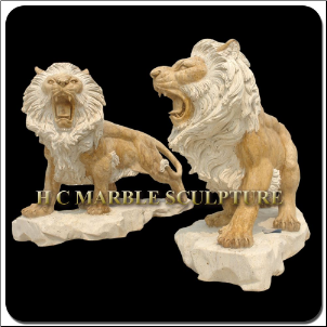 Marble Lions on Rock Base in Travertine