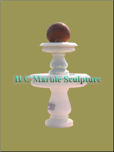 White Marble 2 Tier w Sunset Red Ball Fountain