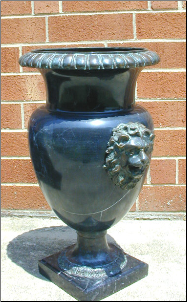 Marble Urn with Bronze Lion