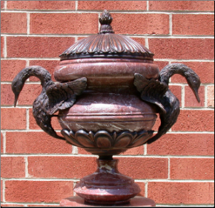 Red or Black Marble Urn with Swans