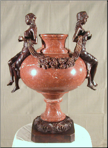 Red Marble with 2 Ladies Urn
