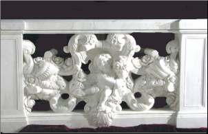 Cupid w/ Rose Vine Balustrade