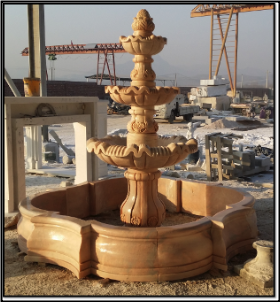 3 Tier Sunset Red Marble Fountain w/ Base