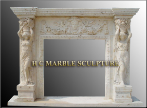 Marble Mantle Two Women Figures Holding Basket