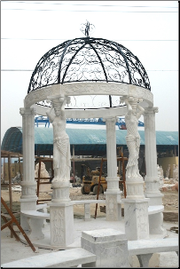 Beautiful (2( Maidens + (4) Columns Hand Carved Marble Gazebo