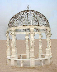 Beautiful (8) Maiden Columns Hand Carved Marble Gazebo