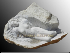 Unique Sculpture Woman Lying down carved inside Rock