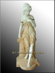 Marble Statue of A Beautiful Maiden Standing on Pedestal