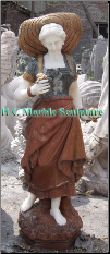 French Maiden W/Straw Hat Marble Statue