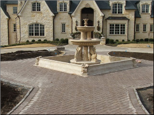 Custom Marble Fountain W/ Coping Pool & Walkway